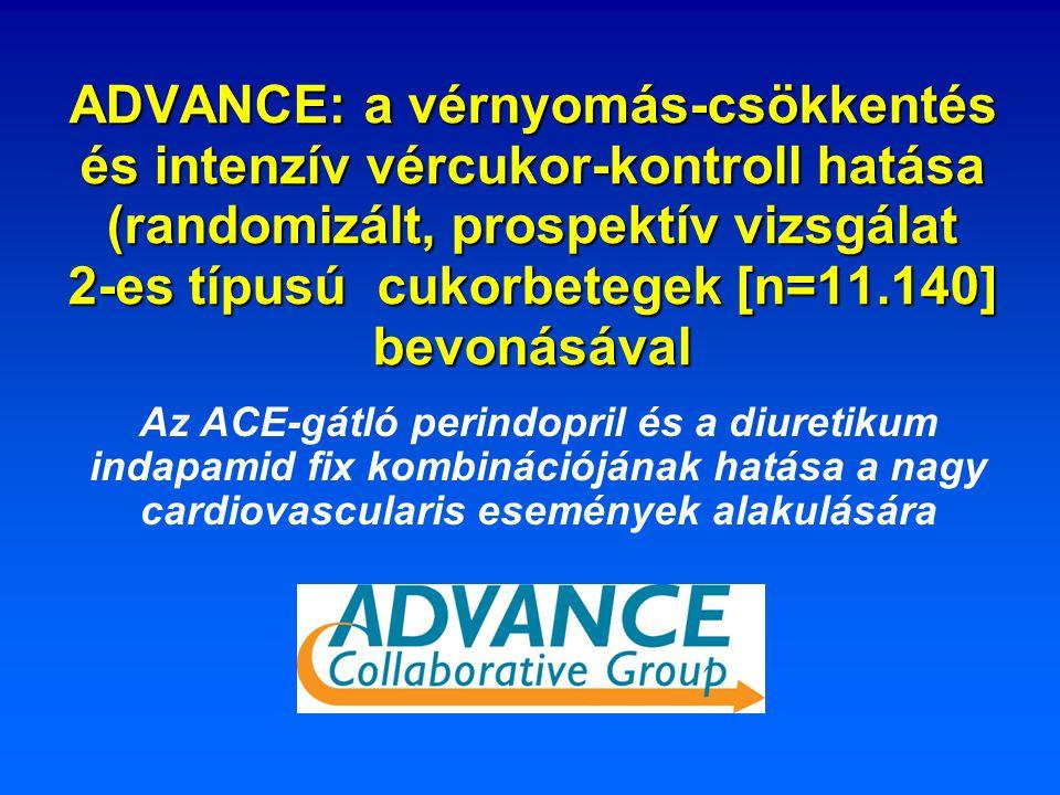 ADVANCE: a vérnyomás-csökkentés és intenzív vércukor-kontroll hatása (randomizált, prospektív vizsgálat 2-es típusú cukorbetegek [n=11.140] bevonásával